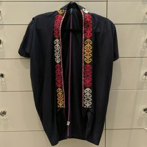 Anthropologie brand navy embroidered cardigan